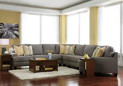 Ciara 5 Pieces Large Modern Living Room Gray Microfiber Sofa Couch Sectional Set