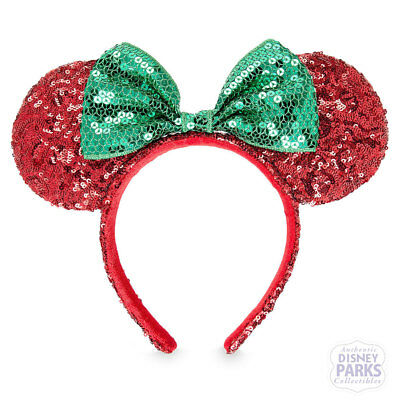 Disney Parks Minnie Red Sequined w/ Green Bow Holiday Ear Headband Christmas