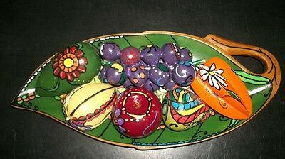 Vintage Wood Fruit Collection in Leaf Shaped Bowl with Bohemian Chic Finish