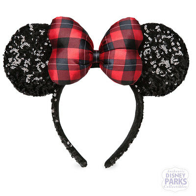 Disney Parks Minnie Mouse Holiday Plaid Bow Ear Headband - Sequined