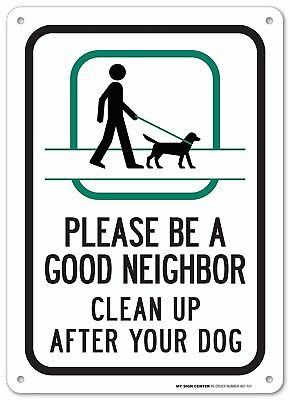 Clean Pick Up After Your Dog Sign No Dogs Pooping Metal For Yard Garden Vintage