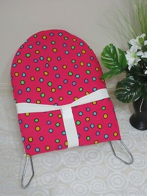 Mesh baby bouncer cover-Hot pink,dots-Fits older and newer models.