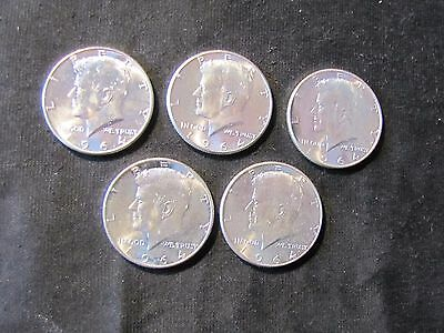 Lot of 5 1964 Kennedy Silver Half Dollars - High Grade