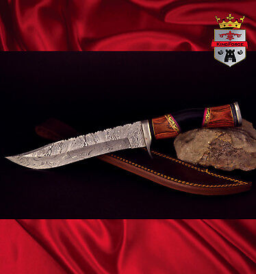 Damascus hunting knife, 072E Special Edition KingForge, knives bowie gift bush