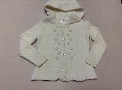 GUC Janie and Jack All in Bows Ivory Wool Blend Hooded Hoodie Sweater 2T
