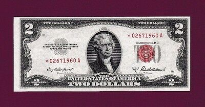 Fr.1510  $2  1953 A  STAR  LEGAL TENDER RED SEAL NOTE SN * 0267 - 1960 A GEM UNC