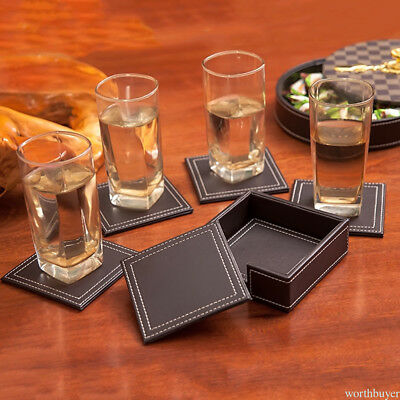 Set of 6 PU Leather Coasters Cup Glass Table Mat Pad with Coaster Holder P7BM