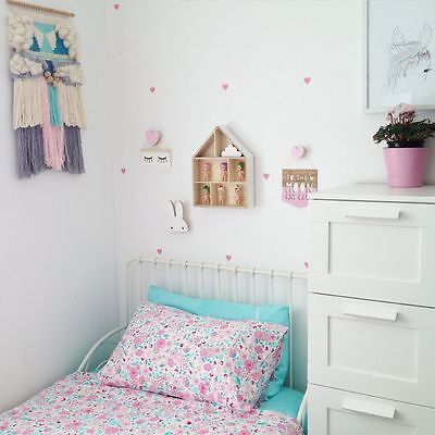 NEW Cot Crib Organic Cotton Quilt Doona Cover Set Single Bed Fairy Garden Floral