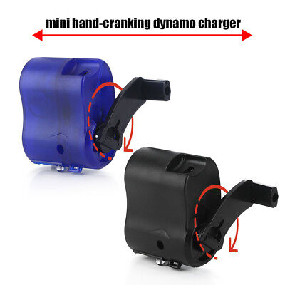 Portable Hand Crank Dynamo Wind Up Mobile Phone Travel Emergency USB Charger BT
