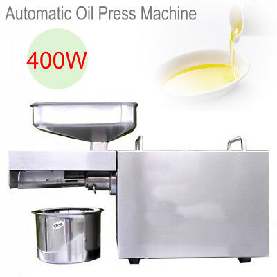 110V/220V Automatic Small Oil Press Machine Food Grade Stainless Steel 400W Home