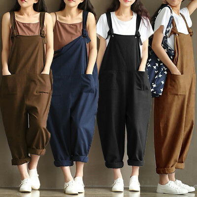 UK STOCK Women Harem Straps Lace Up Dungaree Jumpsuit Trouser Pants Baggy UK8-24