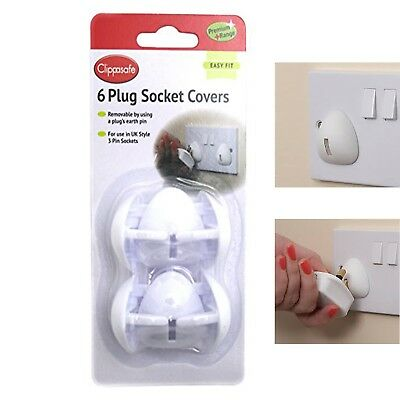 6 Pieces Clippasafe Plug Socket Outlet Covers Baby Child Safety Protector Design