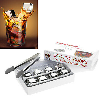 4 6 10  x Reusable Bar Whisky Chilling Cooling Rocks Reusable Steel Ice Cubes