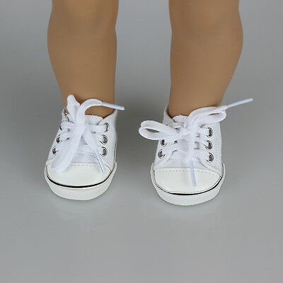 Handmade Canvas White Shoes for 18inch Girl Doll Cute Baby Kids Toy Kit