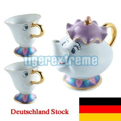 Beauty And The Beast Tea Set Mrs Potts Chip Teapot Ceramics Tea Pot +2 Cups Gift