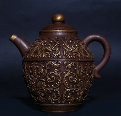 Gorgeous Exquisite Old Chinese Hand Carved ZiSha Purple Sand Teapot Marked PT370