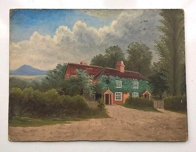 Old Original Vintage Oil Painting English Country Lane Ivy Cottage Landscape