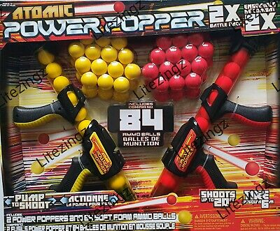 Atomic Power Popper 2 Gun Pack with 72 Soft Foam Balls - Indoor or Outdoor Game