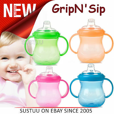 Nuby Grip N Sip No Spill First Cup Baby Silicone Spout Leak Proof 240ml Trainer