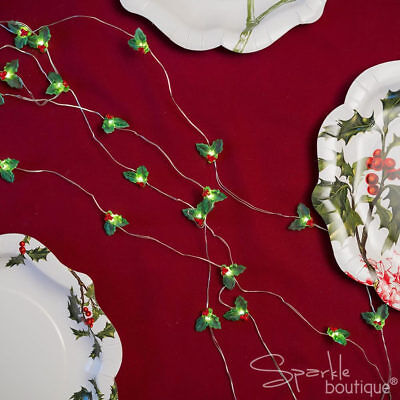 HOLLY FAIRY / STRING LIGHTS - Christmas / Xmas Table Decoration - TALKING TABLES