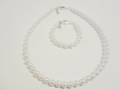 Newborn/Baby girls pearl bracelet and necklace set