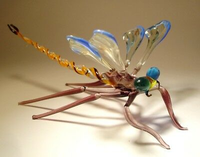 """Blown Glass """"Murano"""" Figurine Gorgeous Blue & Clear DRAGONFLY"""
