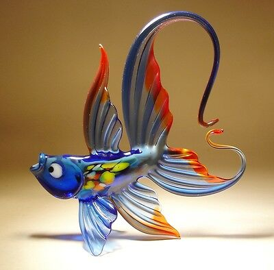 Blown Glass Figurine Art Blue and Red FISH with an Arched Tail