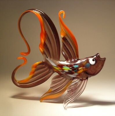 Blown Glass Figurine Art Hanging Purple & Red FISH with Arched Tail Ornament