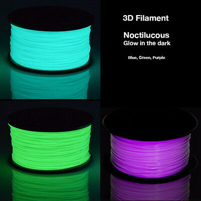 3D Printer Filament Glow in the Dark PLA 1.75mm Noctilucous Blue Green Purple
