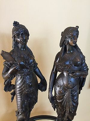 19th Century Egyptian Revival Pair of French Bronzes  of Cleopatra & Semiramis