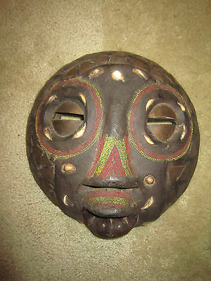 Antique AFRICAN Tribal Mask / Elaborately Decorated w Shells, Beads, Copper /