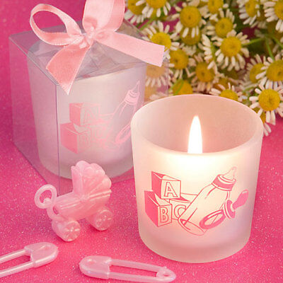 Favor Saver Collection Baby Girl Themed Candle ~ Christening Gifts & Favors