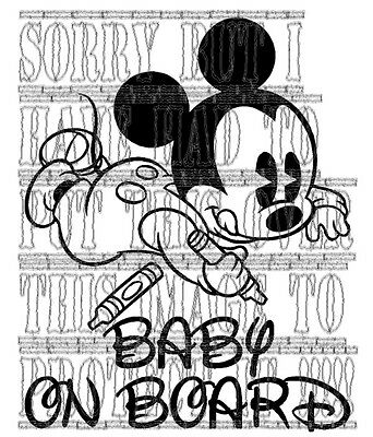 Cool Cute disney mickey mouse baby on board vinyl decal sticker cartoon! sign