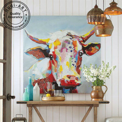 GUDI-Abstract Hand-Painted Cattle Oil Painting Modern Home Decor Canvas Art Wall