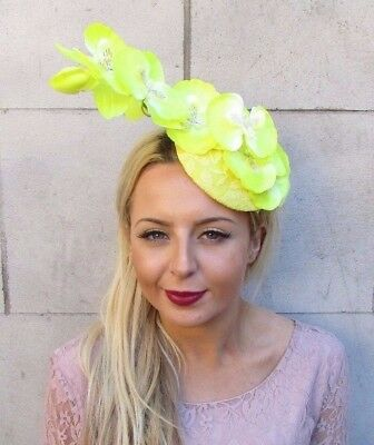 Yellow Orchid Flower Fascinator Pillbox Hat Races Cocktail Hair Clip Floral 4383