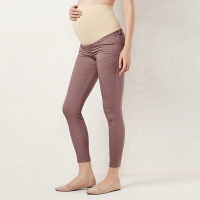 LAUREN CONRAD Womens MATERNITY Twilight Mauve Full Belly Panel Jeggings Size 4