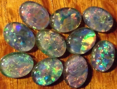 OPAL TRIPLETS  FOR  RINGS OR PENDANTS 10 of 8x6 mm OVAL CABOCHON A grade 8.4 cts