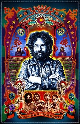 """Jerry Garcia/Dead-Signed By Artist -11x17"""" poster - vivid colors - very detailed"""