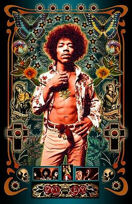 """Jimi Hendrix -11x17"""" TRIBUTE Poster - Vivid Colors - Signed by Artist"""