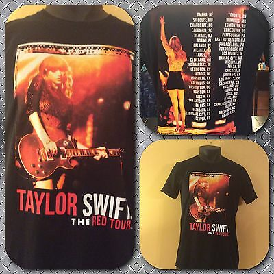 Taylor Swift Black Concert Double Sided T-Shirt Medium The Red Tour 2013 Cities