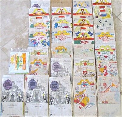 Lot of 28 McDonald's Paper Bags, Happy Meal Mixed Vintage Bundle