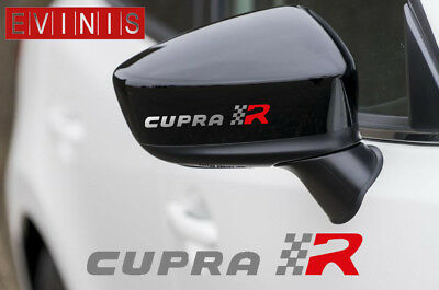 SEAT CUPRA R SILVER VINYL SYMBOL MIRROR DECALS STICKERS GRAPHICS x2