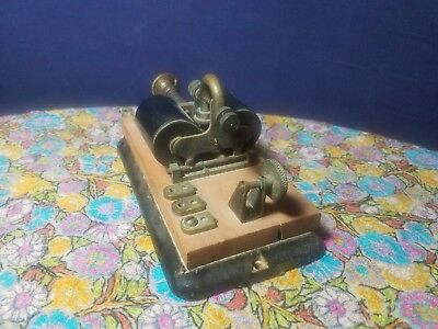Antique Telegraph Machine Mounted on Wood & Metal Base