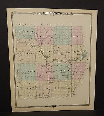 Wisconsin Sheboygan County or Fond Du Lac 1877 Single Pg Special Price! L14#47