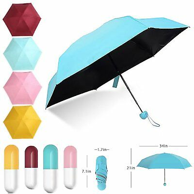 Mini Pocket Sun Umbrella Anti-UV 5 Folding Compact Umbrella With Capsule Case