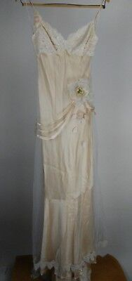 Claire Pettibone Bridal Gown Vintage 1920's Style Tool Lace Ivory White Floral