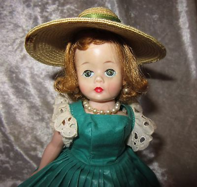 Vintage Blonde Madame Alexander Doll~Cissette In Tagged Green Dress ~Complete