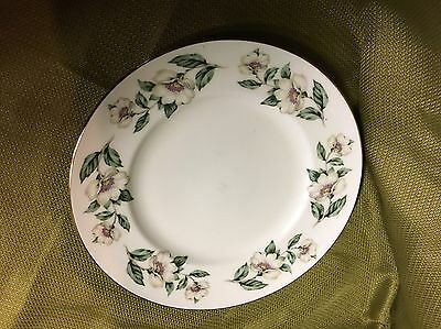 Crown Staffordshire England Plate, White Flowers and Green Leaves