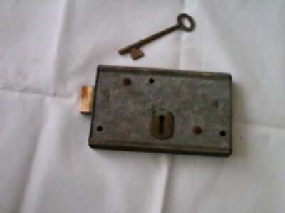 Vintage Antique Rim Lock /  & key, Latch Door  Locks  in grey
