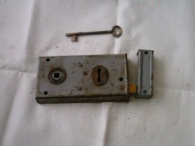 Vintage Antique Rim Lock / keep & key, Latch Door  Locks  in grey